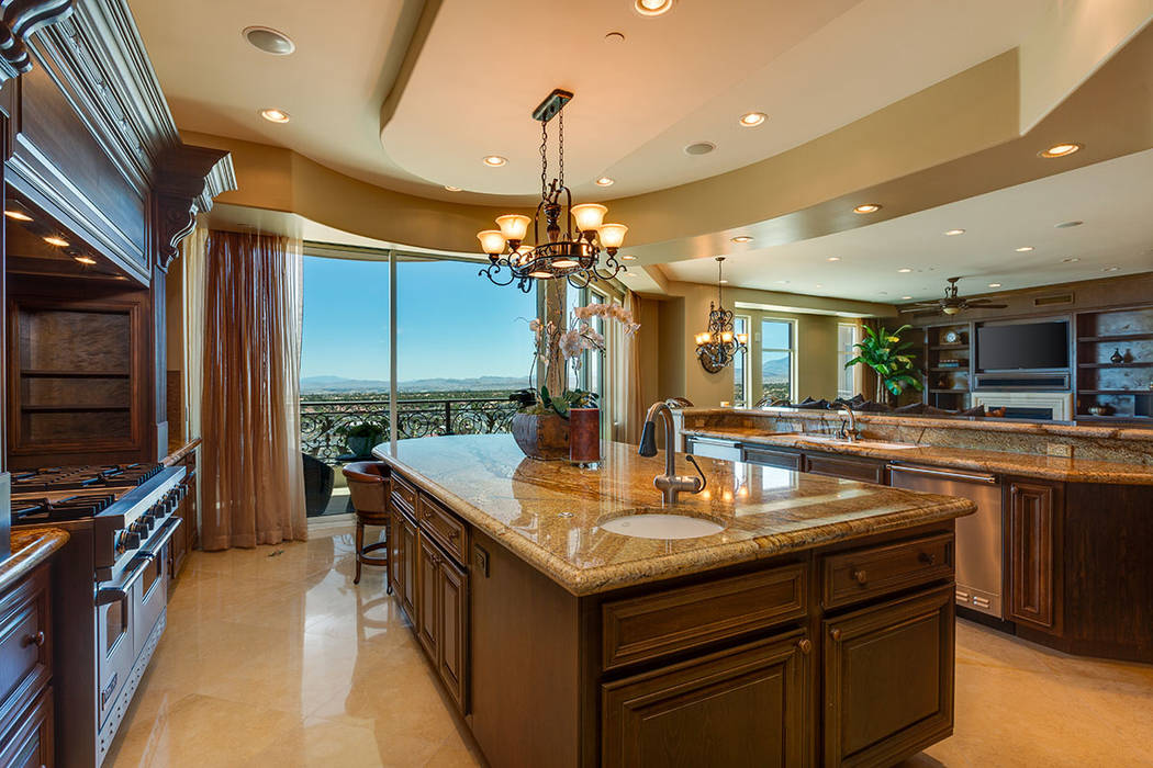 The kitchen in unit 1603 in One Queensridge Place. (Ivan Sher Group)