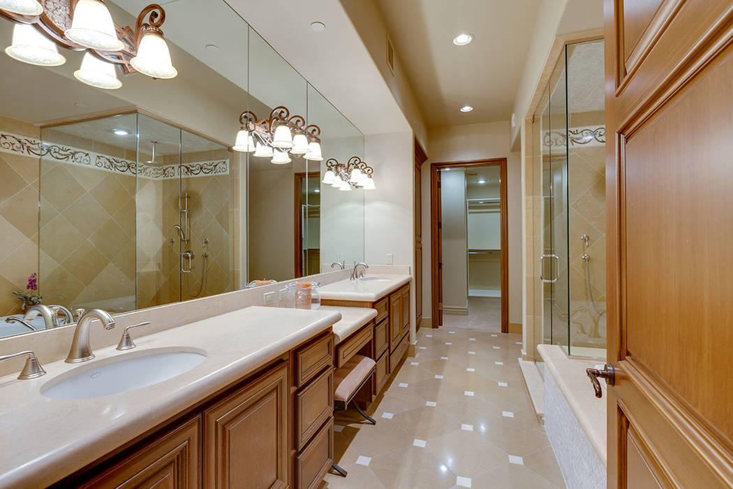 The master bath in unit 1603 in One Queensridge Place. (Ivan Sher Group)