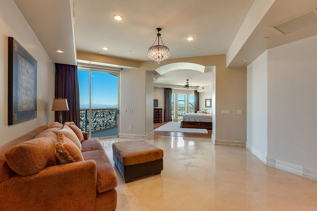 The master suite in unit 1603 in One Queensridge Place. (Ivan Sher Group)