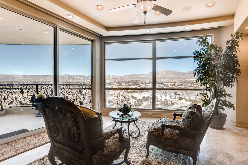 The unit 1501 in One Queensridge Place has sweeping views of the desert mountains. (Char Luxury Real Estate)
