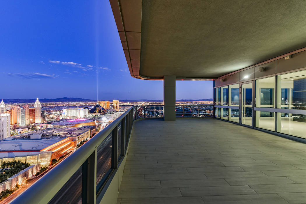 Unit 4307 in Panorama Tower, 4471 Dean Martin Drive, has a large balcony. (Realty One Group)
