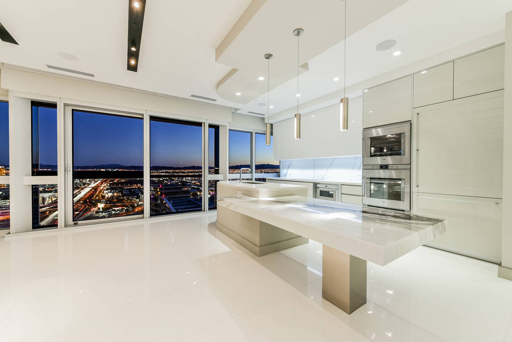 The kitchen in unit 4307 in Panorama Tower, is ultra modern. (Realty One Group)