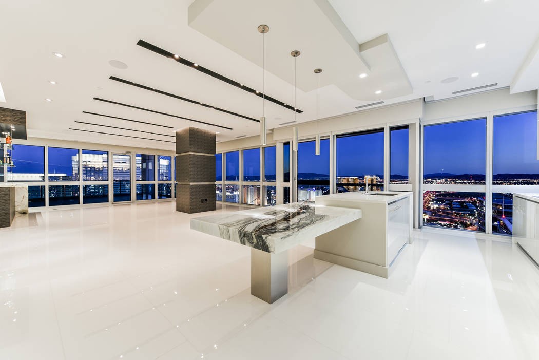 No. 10: The kitchen in unit 4307 in Panorama Tower, is ultra modern. It sold for $3 million. (Realty One Group)