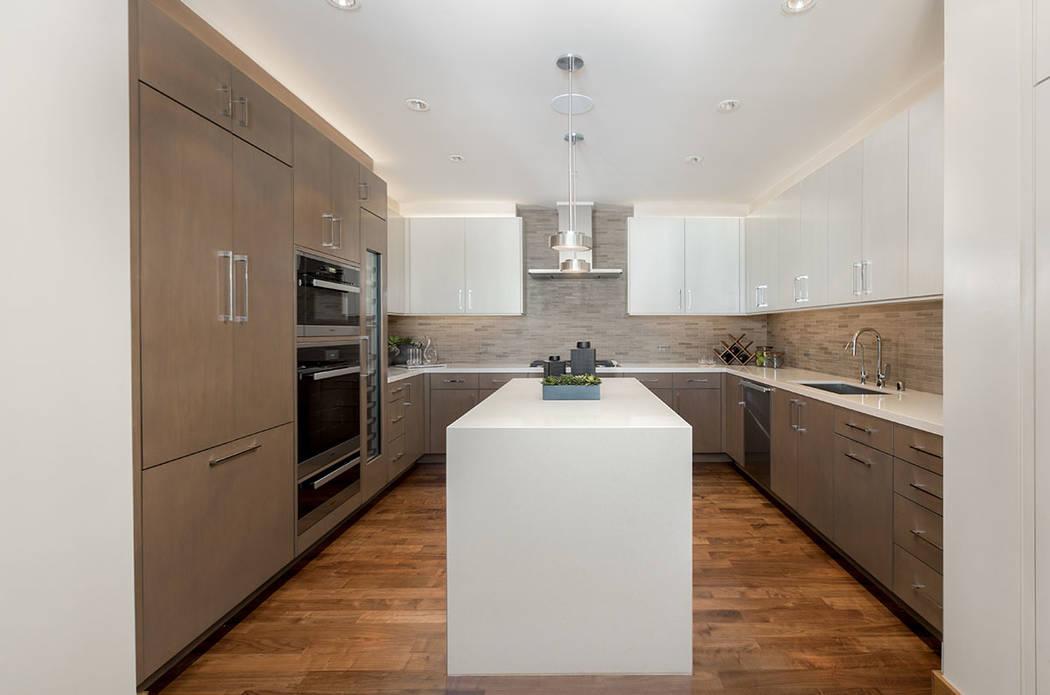The kitchen in Waldorf Astoria unit No. 2403. (Luxury Estates International)