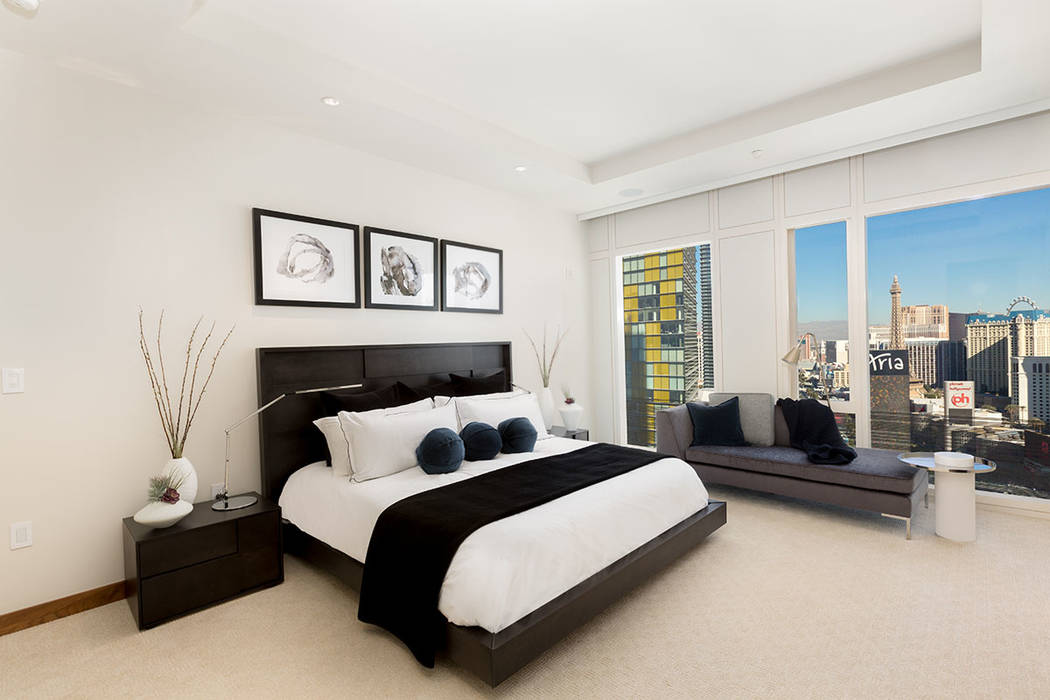 The master bedroom in Waldorf Astoria unit No. 2403. (Luxury Estates International)