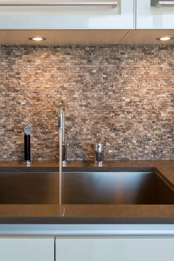 The kitchen in unit 3604 in Waldorf Astoria. (Luxury Estates International)