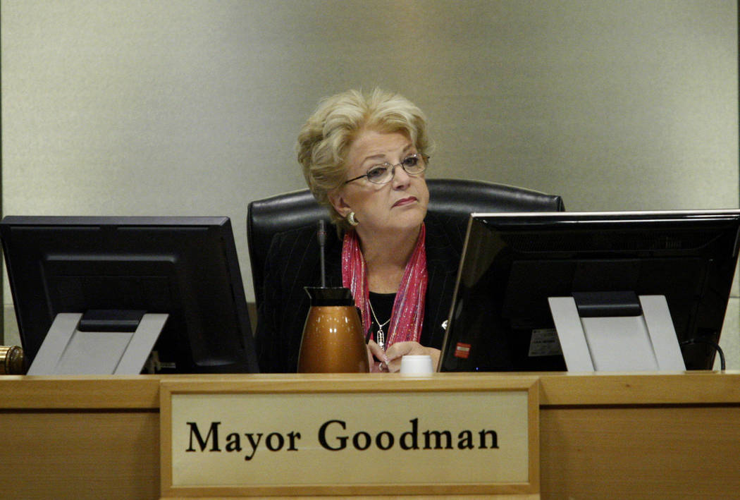In this Las Vegas Business Press file photo, Mayor Carolyn Goodman listens during a meeting of the redevelopment authority at City Hall in downtown Las Vegas.