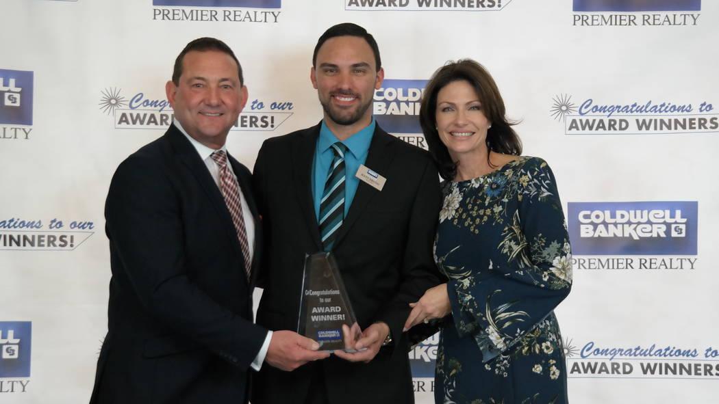 Matt Bruno won the Horizon Award. Here, he is with Bob and Molly Hamrick. (Elaina Hunley/Coldwell Banker Premier Realty)