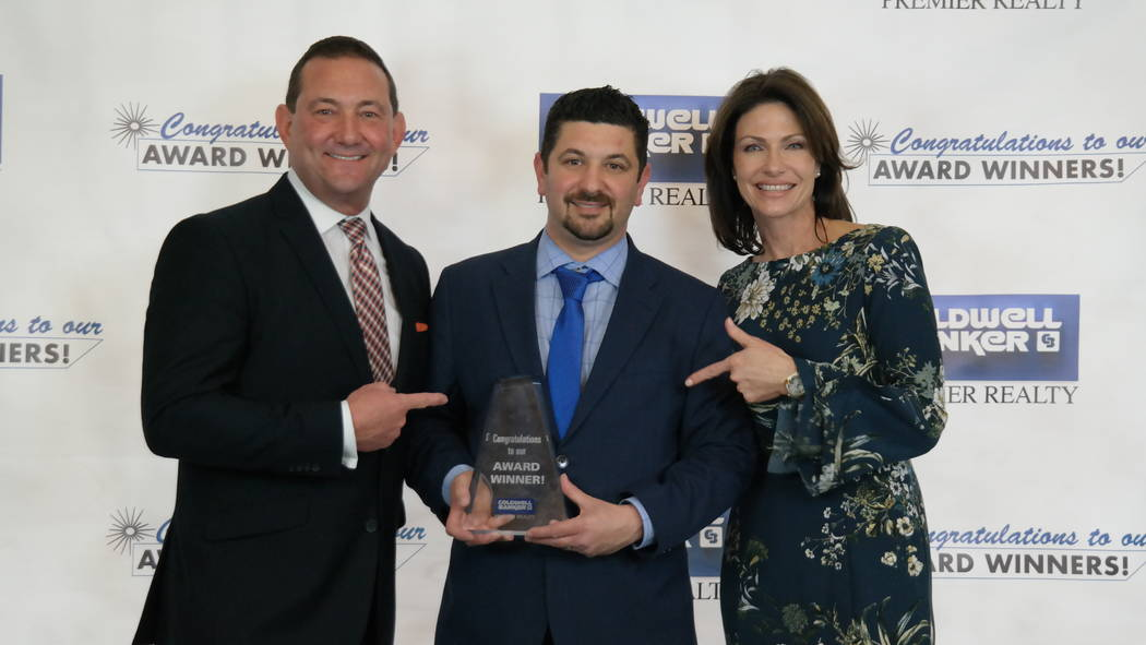 Matthew Steiner with Bob and Molly Hamrick. Steiner won the President's Circle Award. (Elaina Hunley/Coldwell Banker Premier Realty)