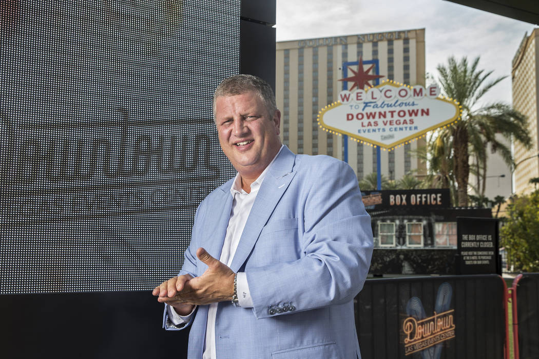 D Las Vegas CEO Derek Stevens at the Downtown Las Vegas Events Center on Aug. 9, 2018. He and others talked about growth in Las Vegas convention space. (Benjamin Hager Las Vegas Business Press)