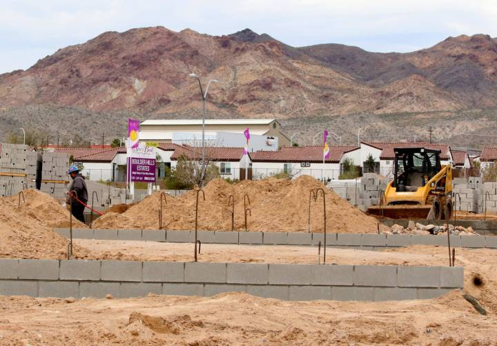 StoryBook Homes is building new houses at the corner of Adams Boulevard and Bristlecone Drive in Boulder City. (Bizuayehu Tesfaye Las Vegas Business Press)