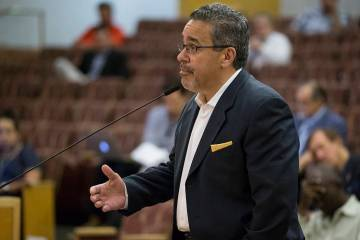 Peter Guzman, president of the Latin Chamber of Commerce, speaks during a meeting at the Clark ...
