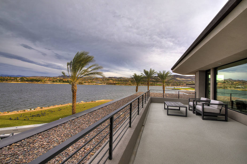 The balcony has a view of Lake Las Vegas. (Synergy/Sotheby's International Realty)