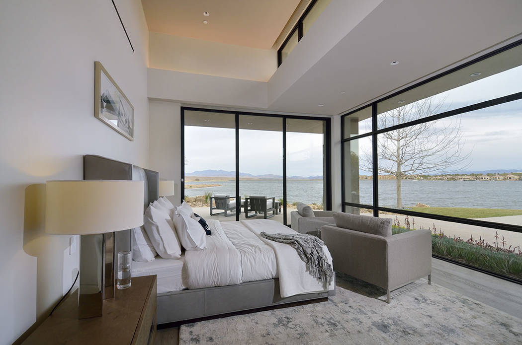 The master bedroom has a view of Lake Las Vegas. (Bill Hughes Las Vegas Business Press)
