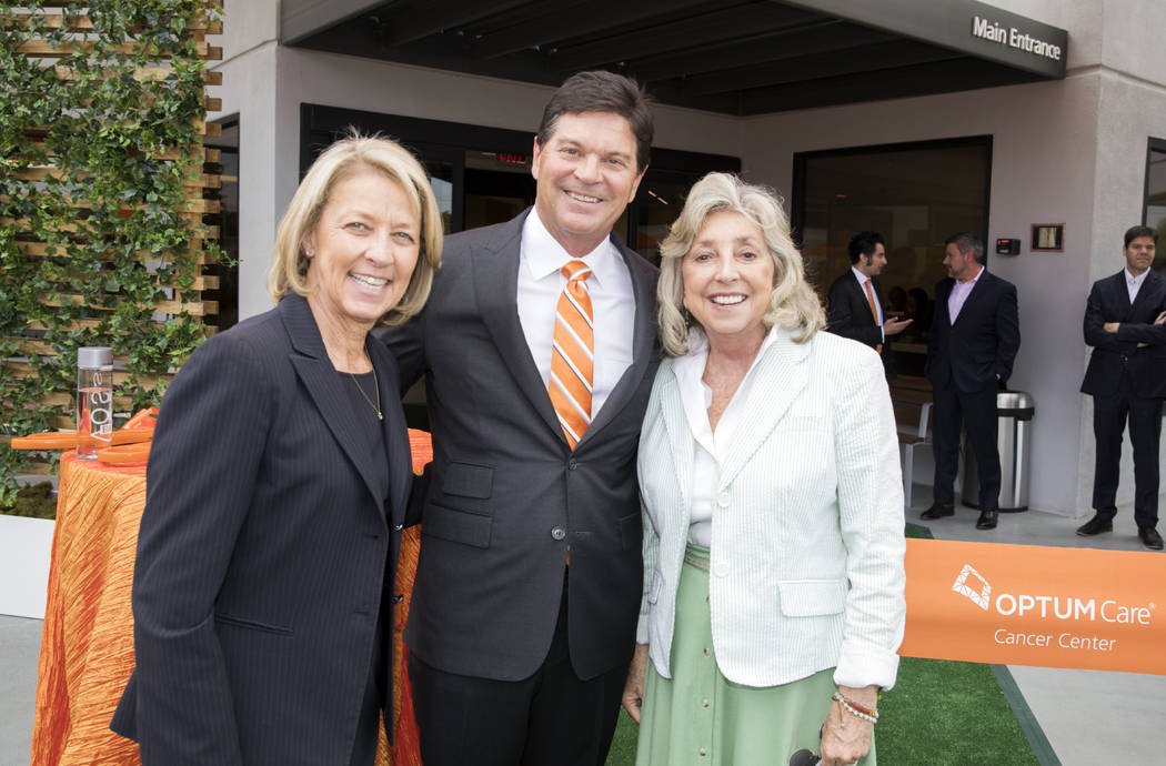From left, Nevada Secretary of State Barbara Cegavske; Dr. Robert McBeath, OptumCare Nevada pre ...