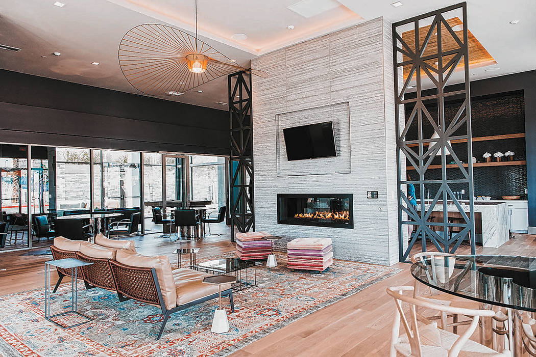 The clubhouse at the new luxury apartments at Tanager in Downtown Summerlin is ready for the co ...