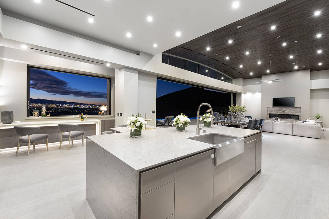 Even the kitchen has its own view of the Las Vegas Strip. (Synergy|Sotheby's International Re ...