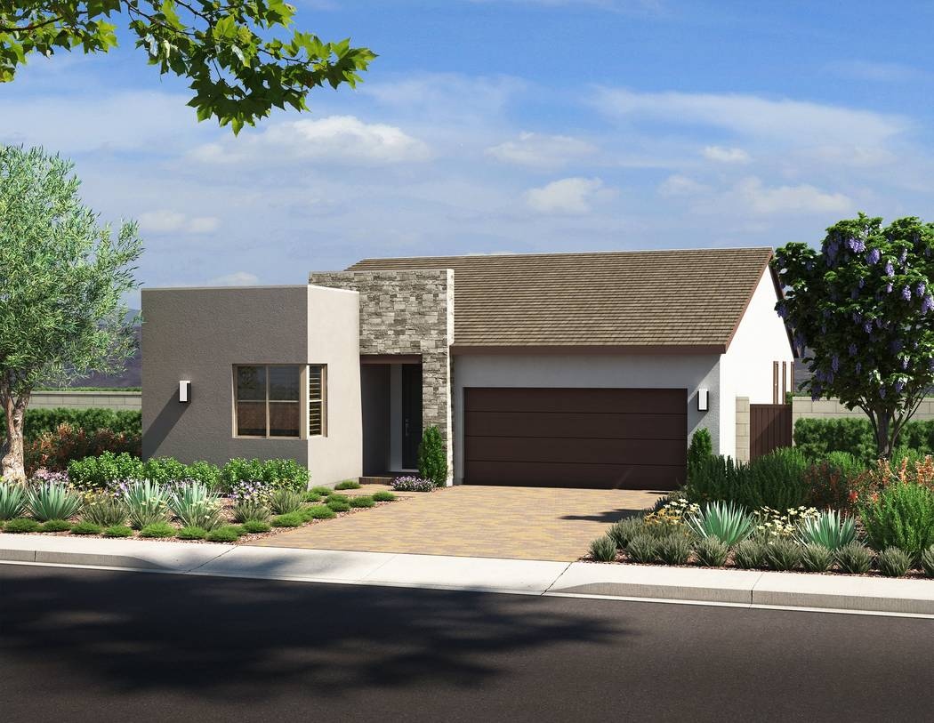 Pardee Homes This artist's rendering shows a single-story residence in Pardee Home's Larimar ne ...