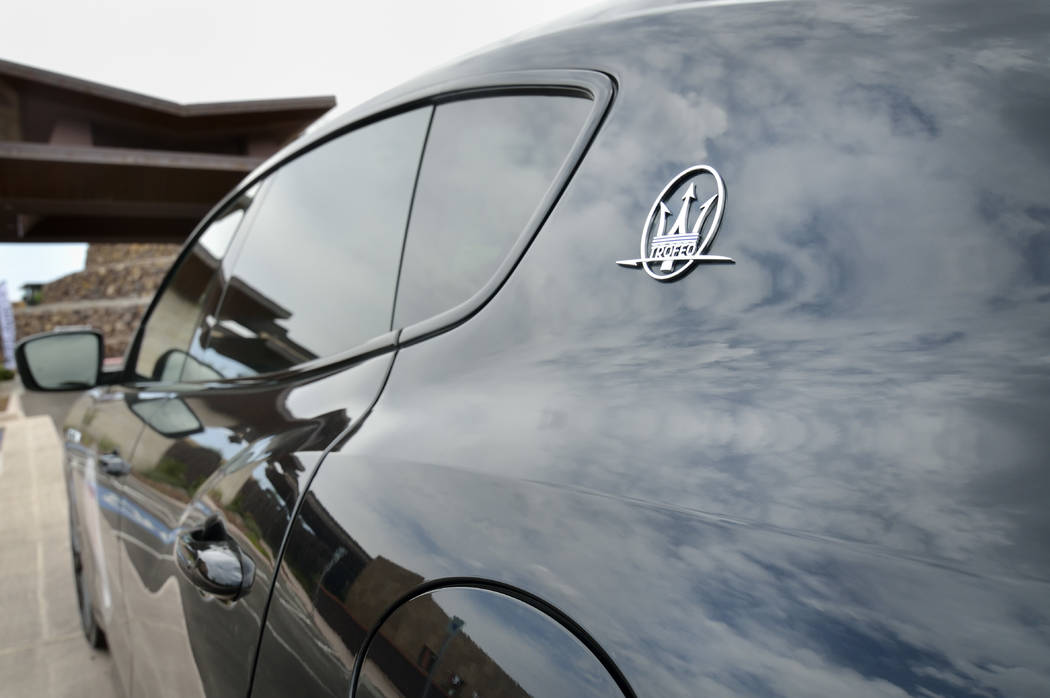 Clouds are reflected on the surface of a 2019 Maserati Levante Trofeo. (Bill Hughes/Las Vegas B ...