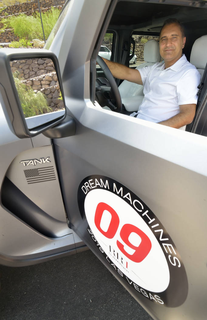 Irvine, California resident Ferris Rezvani, founder of Rezvani Motors, is shown in a 2019 Rezva ...