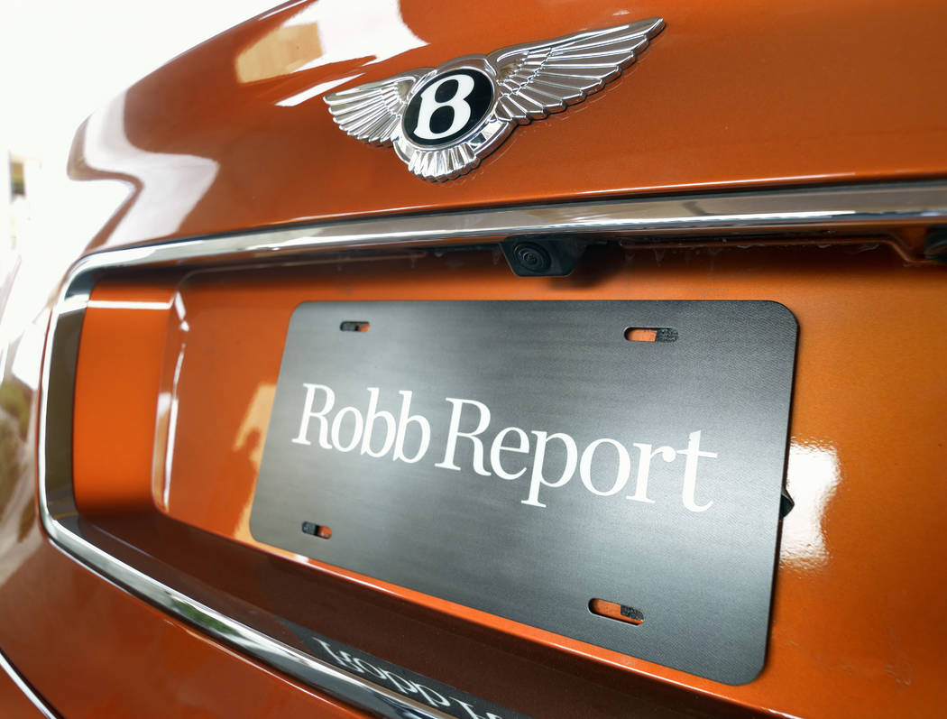 The back of a 2019 Bentley Bentayga Speed shows a Robb Report sign. (Bill Hughes/Las Vegas Busi ...