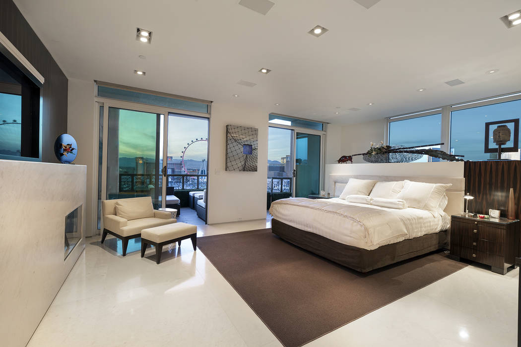 The master bedroom in the Park Towers condo features a view of the High Roller. (Ivan Sher Group)