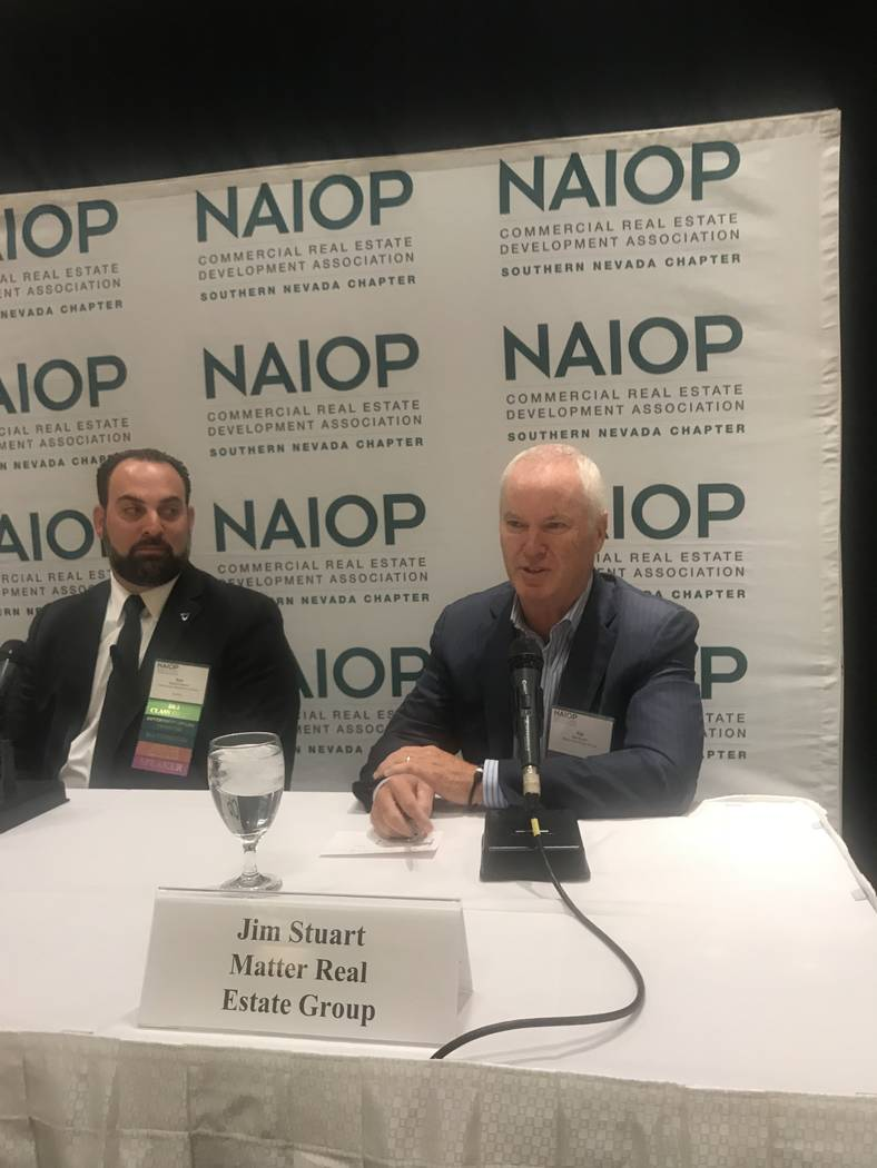 Jim Stuart, a partner in Matter Real Estate Group, talks at a recent NAIOP Southern Nevada even ...