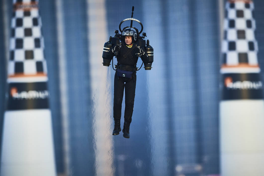 Jet Pack Man in action at the first round of the Red Bull Air Race World Championship in Abu Dh ...