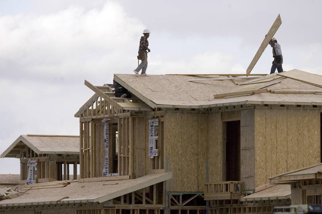 Construction workers build a home in Las Vegas. (Las Vegas Business Press file photo)
