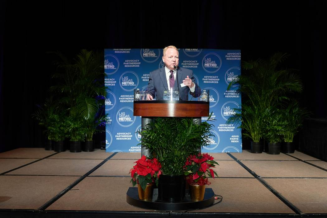 Tom Burns addressed the Las Vegas Metro Chamber of Commerce membership at its Dec. 11 ceremony ...