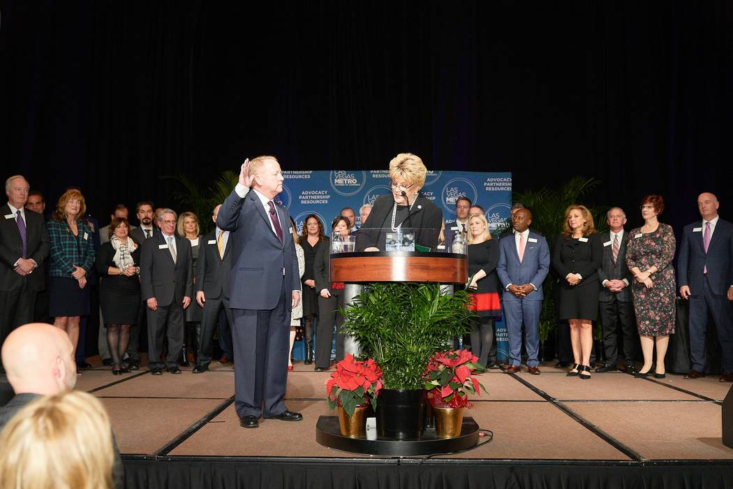 Las Vegas Mayor Carolyn Goodman gives the oath of office to Tom Burns, president of Cragin & Pi ...