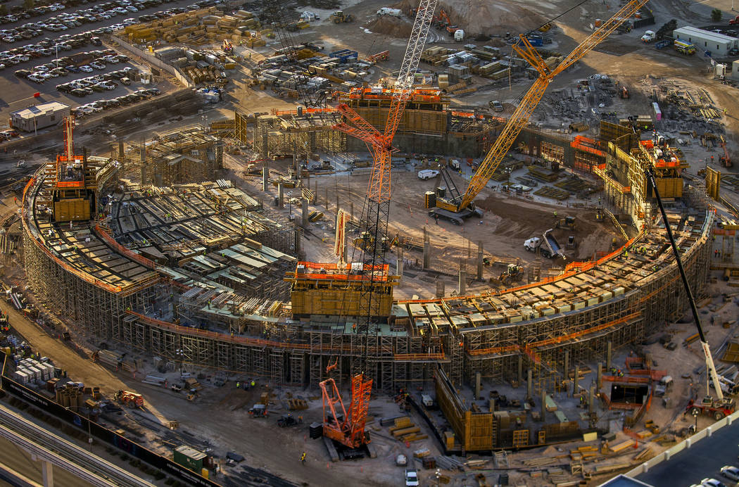 Construction continues on the MSG Sphere concert venue that will open in 2021. (L.E. Baskow/Las ...