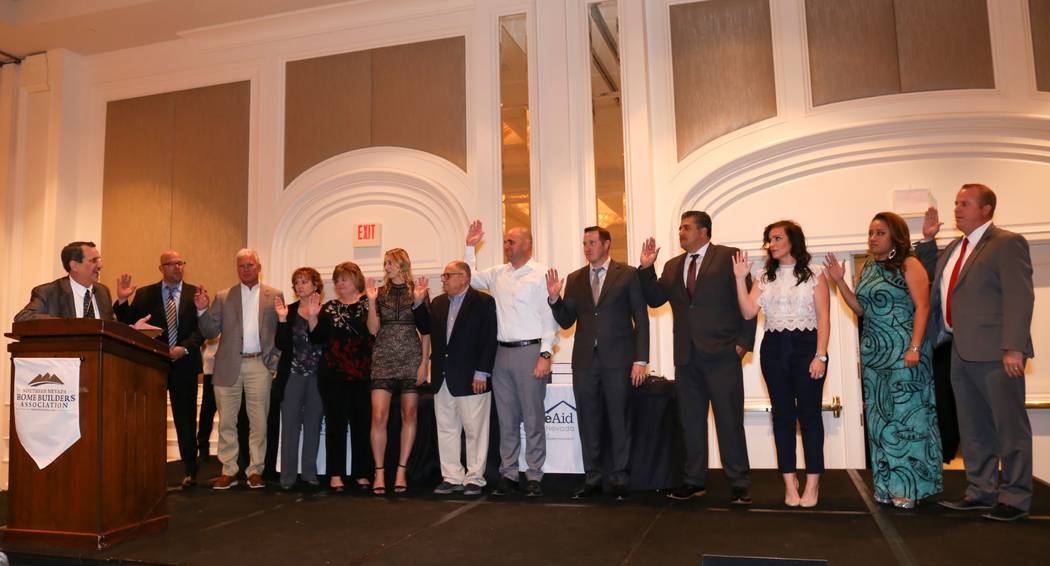 The HomeAid Southern Nevada board is sworn in. (SNHBA)