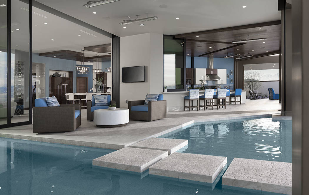 The pool embraces the 2020 New American Home. (Jeffrey A. Davis Photography Inc.)