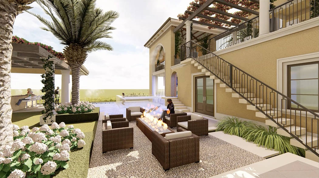 A fire feature is in a sitting area near the pool. (Luxurious Real Estate)