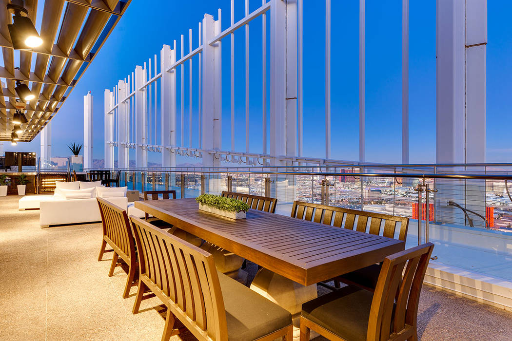 A perimeter terrace provides 360-degree views of Las Vegas and can accommodate hundreds of gues ...
