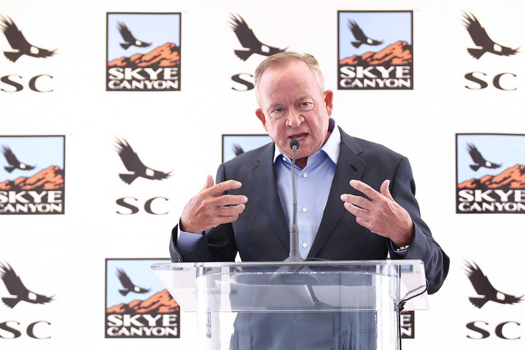 Garry Goett, CEO and chairman of Olympia Cos., speaks during Skye Canyon's groundbreaking cerem ...