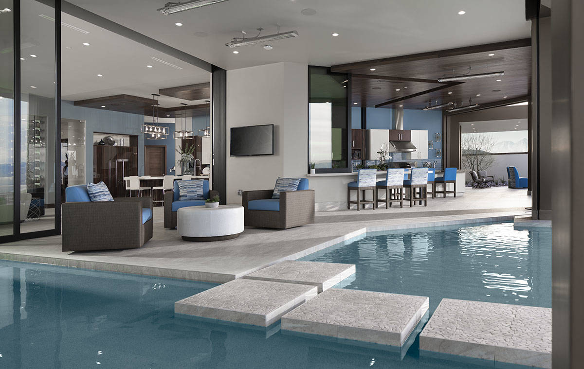Jeffrey A. Davis Photography Inc. The pool embraces the 2020 New American Home in Ascaya. It so ...