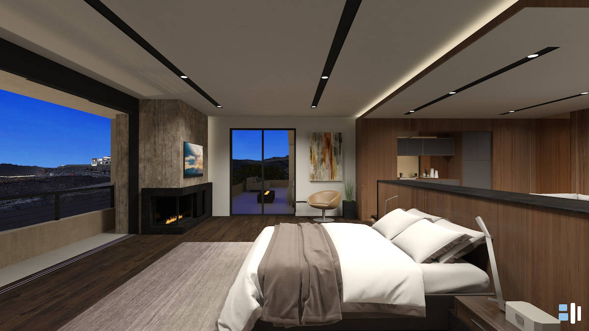 A master bedroom is showcased in the Vision collection. (Blue Heron)
