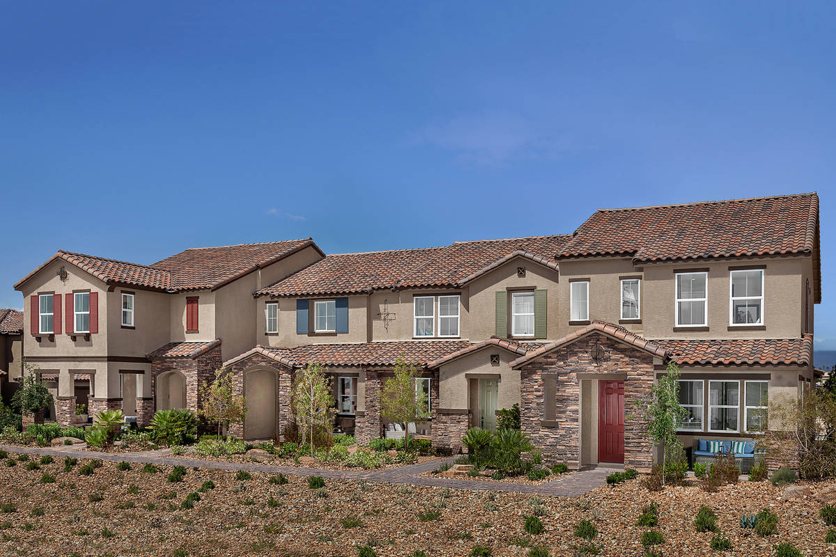 KB Homes offers town homes in Inspirada in Henderson and in Tule Springs, a North Las Vegas mas ...