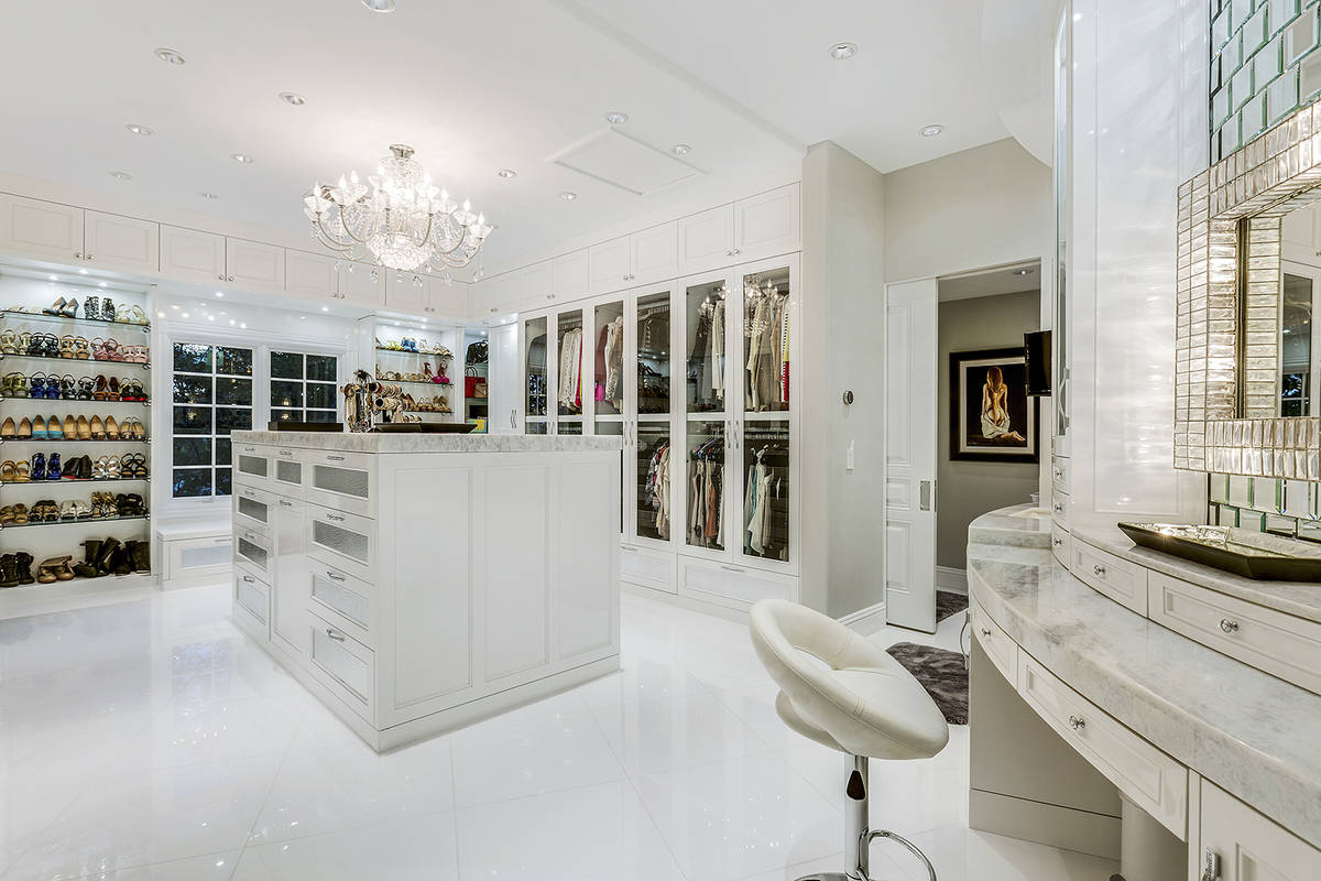 One of the master closets in the Queensridge mansion. (Tom Love Group)