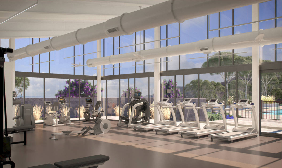 Mesa Ridge in Summerlin offers luxury homes with amenities, such as this gym. (Toll Brothers)