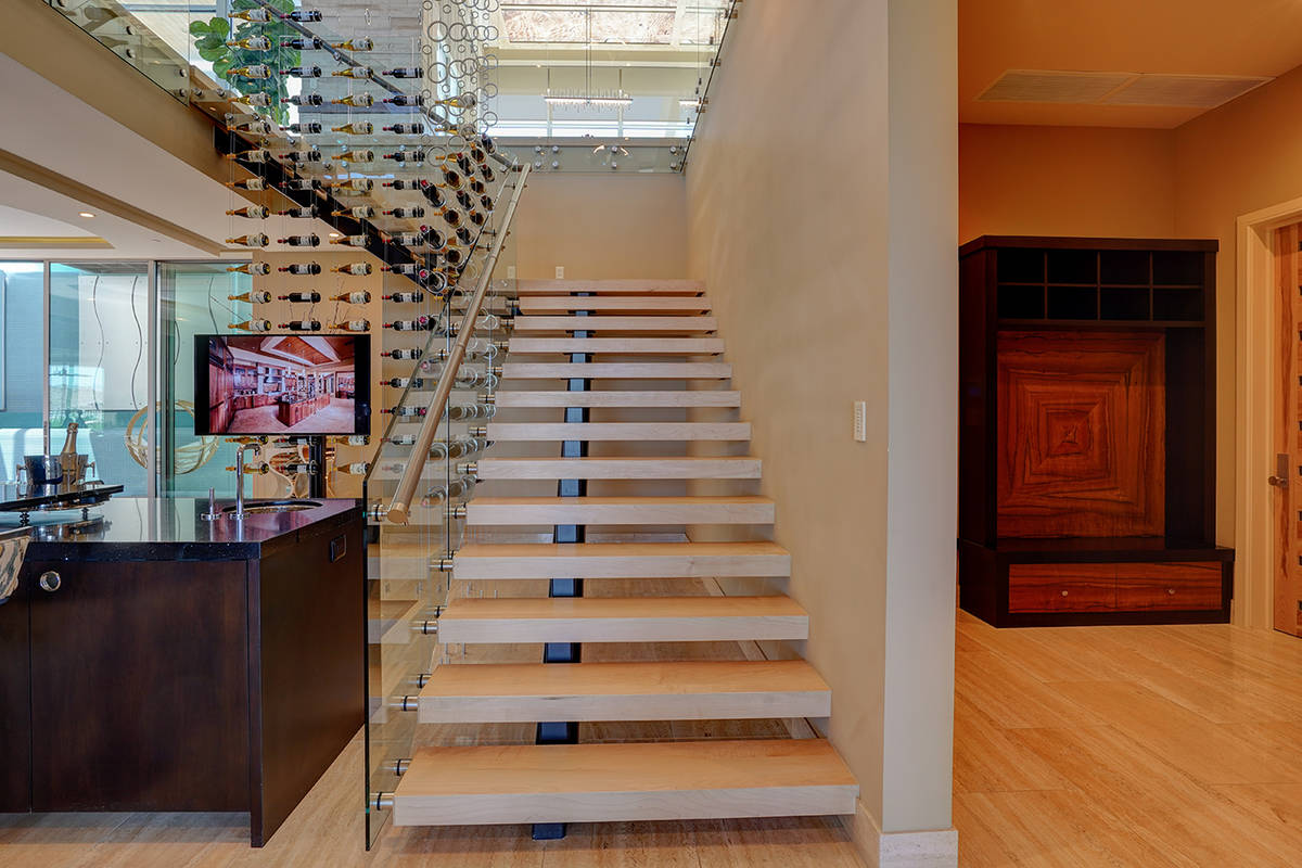 Floating stairs. (Sun West Custom Homes)