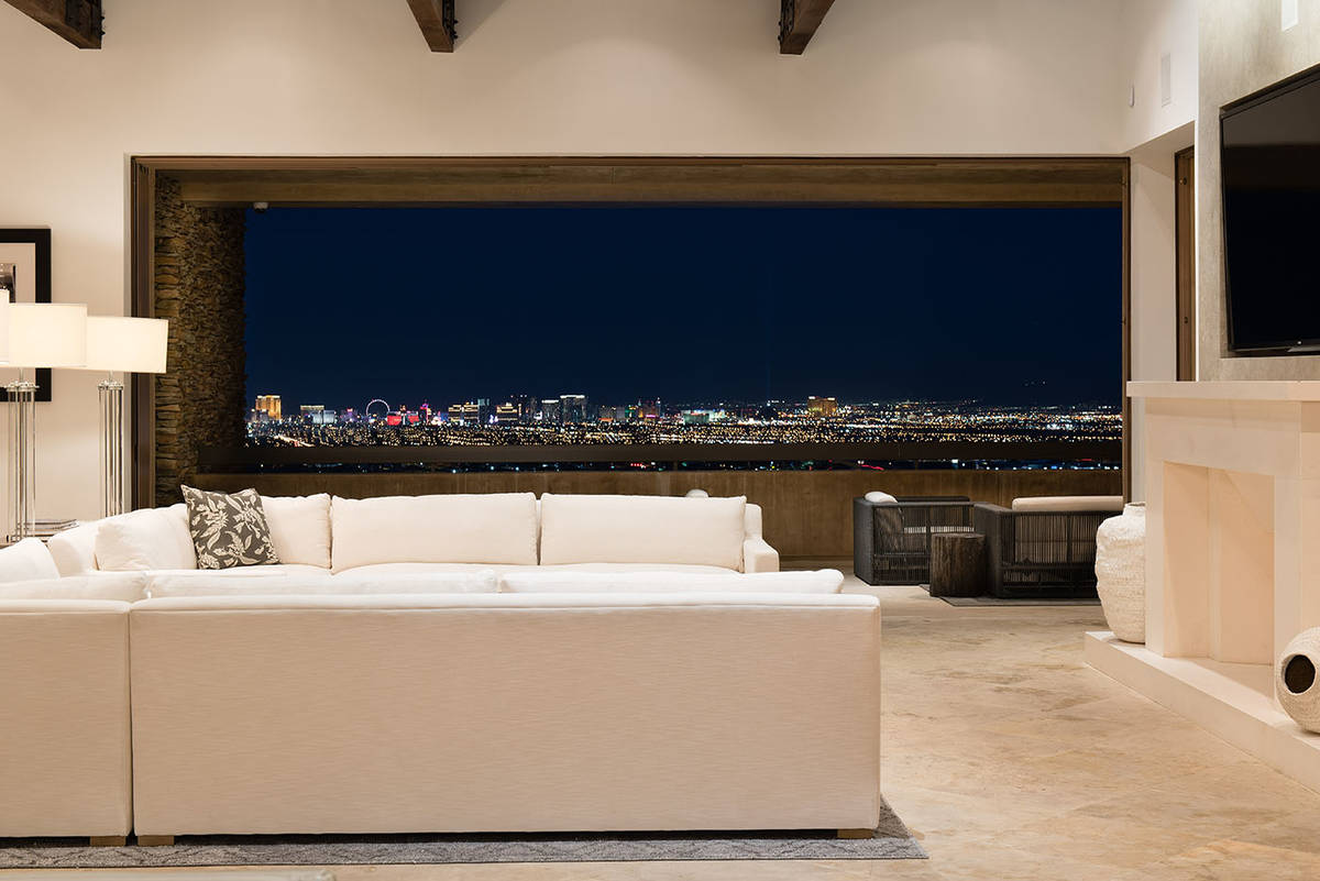 The great room has views of the Strip.