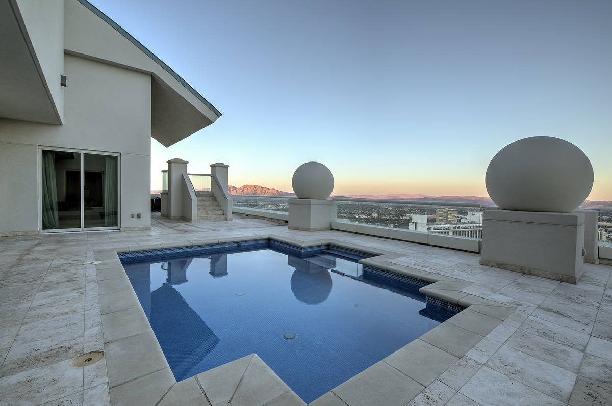 The Turnberry Place penthouse has its own pool and spa on the terrace overlooking the Las Vegas ...
