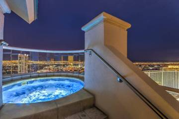 The upper-level balcony features a private, heated 300-square-foot swimming pool, elevated Jacu ...