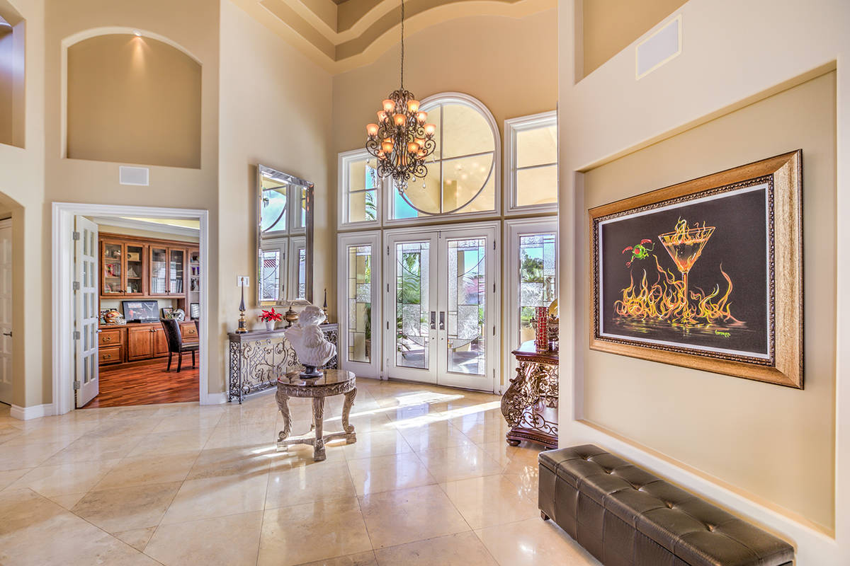 The entrance leads into a sunken living room. (Mark Wiley Group)