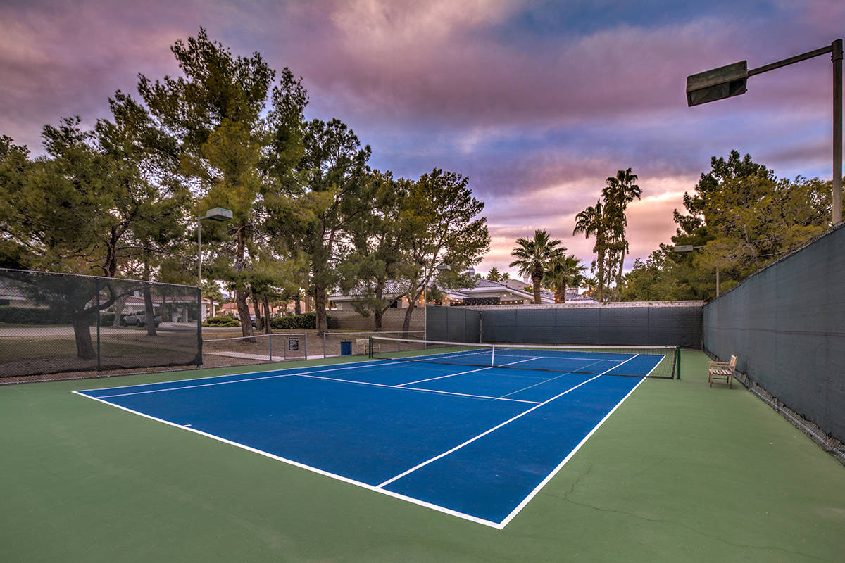 The community has a tennis court. (Mark Wiley Group)