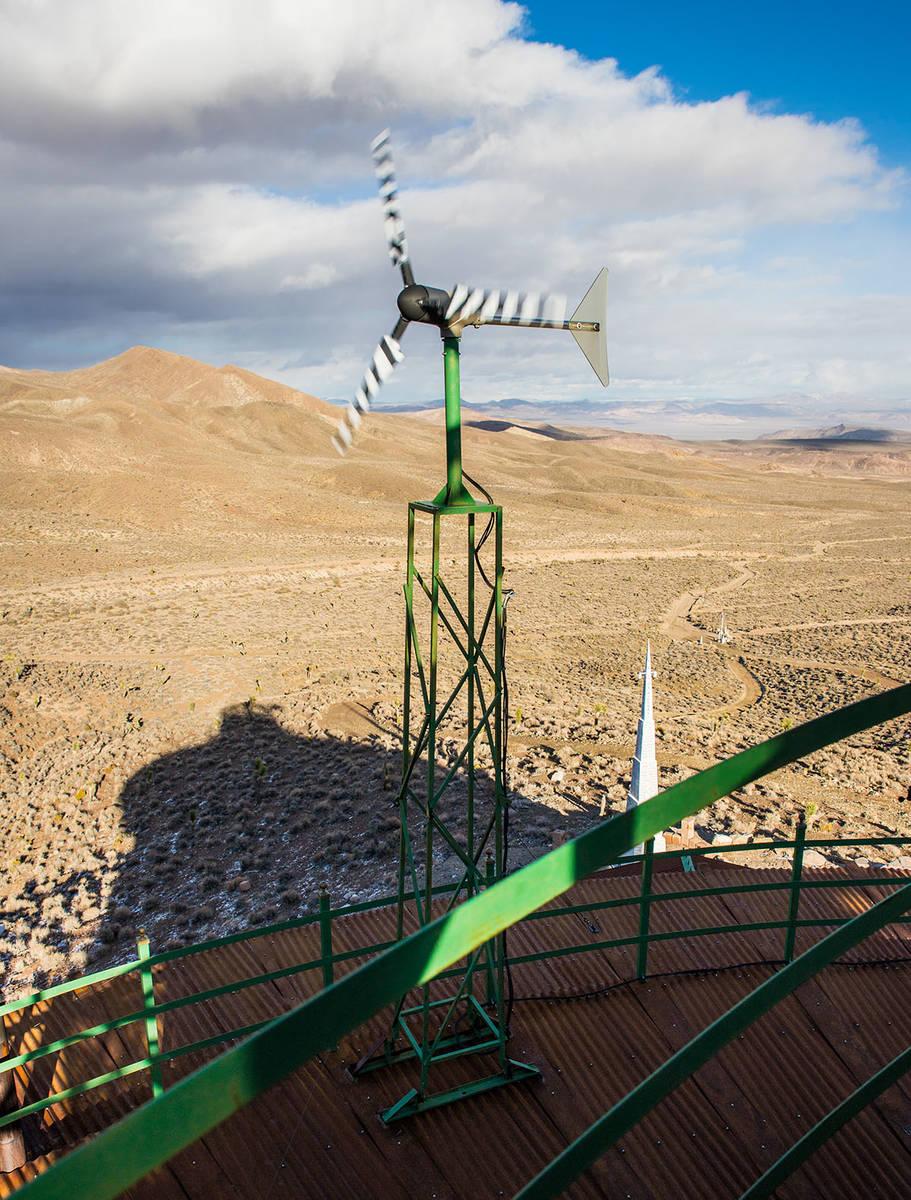 Windmills help generate energy for the Hard Luck Mine Castle. (Tonya Harvey Real Estate Millions)
