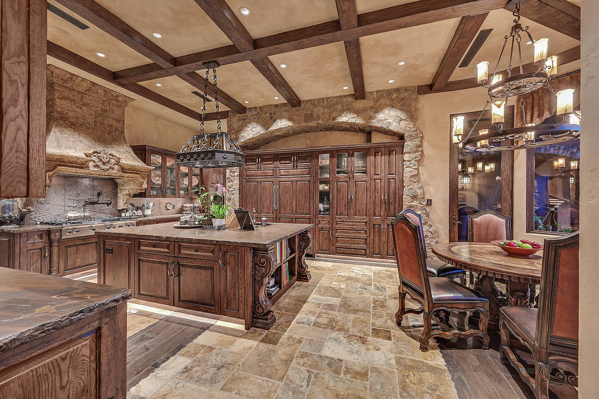 The kitchen in the Michael Gaughan home in Tournament Hills. (Darin Marques Group)